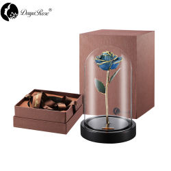 Bleu saphir or 24K incrusté (fleurs) (le couvercle en verre)