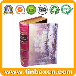 Roman décoratifs boîte cadeau de Noël à charnière Rectangle en forme de livre d'étain métallique avec le grésillement de l'impression