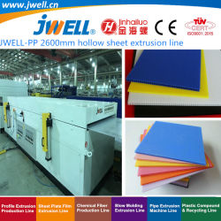 Jwell- 2600mm hohles Plastikblatt der Breiten-pp., das Strangpresßling-Maschine für mehrfachverwendbare Behälter-Kiste herstellend aufbereitet|Schindel|Zurückziehenplatte und Culet