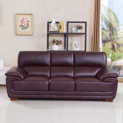 Canapé en cuir haut de la couche salle de séjour en cuir Petit appartement moderne et lumineux Three-Person Double de Luxe en cuir canapé d'art Combinationhb01-58