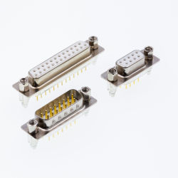 PCB Tipo reta de linha dupla feminina estampada/pino usinado sem bloquear 9p/15p/25p/37P do conector D-SUB
