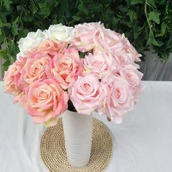 زهور الحرير المصطنعة مع سيقان لحفل الزفاف الذي يمكن اصابته بنفسك باقات منتصف الزلاش جناح العروس ديكور المنزل