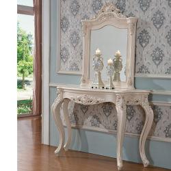 طاولة كونسول خشبية منحوتة مع مرآة بلون أثاث اختياري