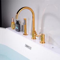 Montaje de la cubierta de lujo de oro de latón de 3 orificios de llenado de Tina asa de un solo Grifo de baño con ducha de mano Bañera conjunto grifo