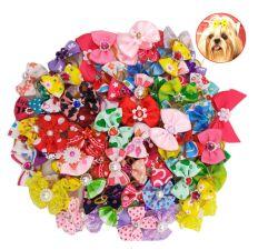 هوت سز كلاب ملونة الحيوانات الأليفة أكسسوارات الشعر الكلب القوس مطاط