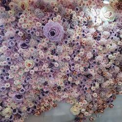 맞춤형 무료 샘플 확인 3D 롤업 패브릭 직물 꽃 벽 웨딩 장식 꽃 인공 실크 장미 꽃 벽 패널 배경