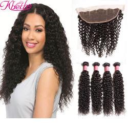Tecelagem de fio de cabelo humano Kinky Kbeth Cacheados para mulheres negras de cabelo Virgem tecem 2021 Fashion 100% natural Remy barato 13*4 de orelha a orelha do pacote de 20 polegadas trama personalizada