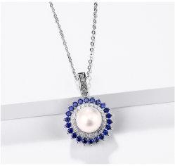 Pendente de prata esterlina Pérola natural para as mulheres belas jóias pérola de água doce rodada criou um estilo clássico de safira azul
