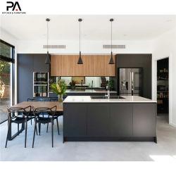 Luxo Personalizado profissionais móveis de cozinha Modular Melamina Preta Armários de cozinha em madeira moderno
