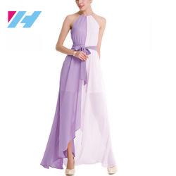 Yihao Dama dama caliente de verano elegante falda larga falda de patchwork de color de contraste