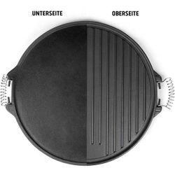 エナメル塗料のハンドルが付いている可逆両面のグリルの版が付いているBBQのための円形の鋳鉄のグリドル鍋
