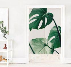Creative vert des feuilles des plantes de chanvre coton décoratif rideau de porte pour la chambre Cuisine Rideau du Cabinet de la pendaison de partition