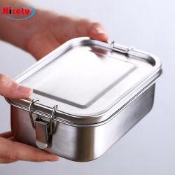 비설화된 생분해성 티핀 박스 누액 방지 캠핑 식품 저장 용기 디더 로고 맞춤형 식기류 스테인리스 스틸 런치 박스