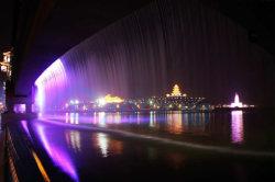 変更橋滝の屋外のデジタル水カーテンの噴水を着色しなさい