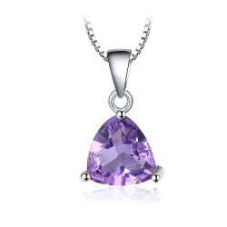 方法宝石類の総合的な紫色の三角形の吊り下げ式のネックレス925の純銀製の宝石類セット