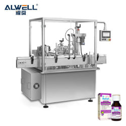 Alwell 멀티 헤드 유리 플라스틱 병 충전 및 밀봉 머신은 입니다 구강 액체 병 패혈성 주입기도 있습니다