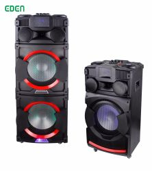 LED Lightとの実行中12inch Wooden Cabinet Outdoor Portable Wireless Rechargeable DJ FM Sound Box Handle Bluetooth PA Speaker