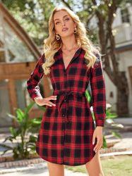 여성용 Plaid Cotton 패션 셔츠는 긴팔 버튼이 있는 드레스입니다 프론트 캐주얼 드레스