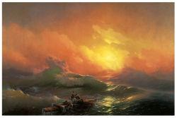 La decoración de alta calidad al por mayor de pintura al óleo, pintura de la decoración del hogar, el arte de pintar (la novena onda)