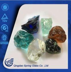 L'aménagement paysager différentes couleurs de pierres de verre de couleur à cristaux de roches de verre bleu pour le jardin