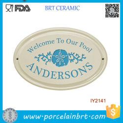 Bricolaje personalizado usted cerámica Jardín Doorplate mayorista