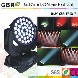 ضوء مؤشر LED يتحرك للرأس من المرحلة 36*10 واط 4in1 RGBW