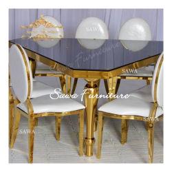 Le luxe d'or en miroir en acier inoxydable haut de page Table à manger en verre trempé