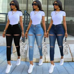 La mode Custom Skinny rippée de grande taille élastique Denim Jeans