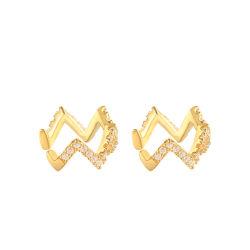 도매 925 스털링 실버 힙합 다이아몬드 포장된 웨이브 귀 여성용 미천공 이어커프 클립