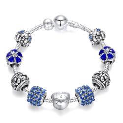 2020 Bracelete grossista 925 Sterling Prata pulseiras de cristal azul e preto