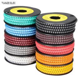 EC タイプ電気 PVC 番号ケーブルマーカーストリップ、ワイヤマーカースリーブ、カラーケーブルマーカー