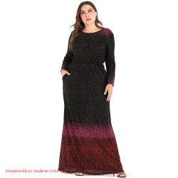 Женские плюс размер Polka Dot платье Канада Abaya вечерние платья Австралии женских моды Maxi Платья женские A-Line Knee-Long длинной втулки свадебные платья гостей