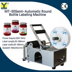Glas-runde Flaschen-Etikettiermaschine-halb automatisches Kennsatz-Gerät der Fabrik-Mt-50 manuelle Aufkleber-Etikettiermaschine für Plastikglasflasche