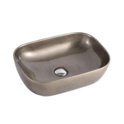 Modèle rectangulaire en métal céramique Archaistic compteur ci-dessus du dissipateur de lave-mains de bassin d'art antique de Bronze classique