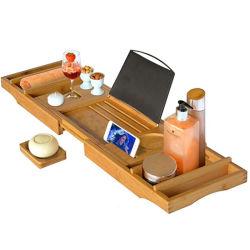 Heißer Verkauf Bambus Wasserabweisend Badewanne Caddy Tray mit Seifenhalter