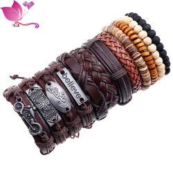 New Fashion Jewellery Vintage BADS in legno Cinturino pelle Bracciale