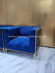 Canapé-lit double double double double en acier inoxydable au laser couleur or titane So11, avec garniture en velours