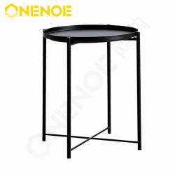 غرفة Onenoe livingroom أثاث معدني خارجي داخلي طرف المائدة المستديرة طاولة طاولة طاولة منضدة مقاومة للصدأ مع طاولة أريكة مقاومة للماء مع صينيات