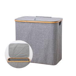 Hot Sale water Proof Grey Folding Bamboo wasserette hamper
