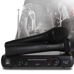 مكثف صوت V2 لاسلكي واستقبال عن بُعد محمول متعدد الأجهزة مكثف ميكروفون لاسلكي بنظام ميكروفون KTV VHF