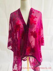 Ladie lenço de veludo Poncho Rose Flower Xale Cachecol burn out