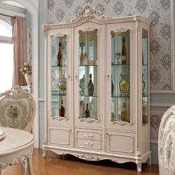 Het hout Gesneden Kabinet van de Wijn van het Glas in de Facultatieve Kleur van het Meubilair
