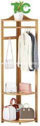 Groothandel multifunctionele Bamboo Corner Coat-stands, Coat-rekken, Rack Hanger Corner Hall Tree Coat Rack met schap en opslag