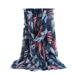 Hot Fashion Muffler Tropical Blatt Print Schals Schal Elegante Frauen Lady Hochwertiger Langer Schal Mit Weichem Druck