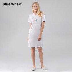 도매 나이트 셔츠 반팔 나이트 가운 프린티드 패턴 티셔츠 스타일 파자마 여성용 슬리프웨어