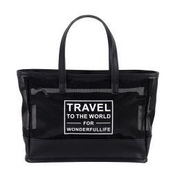 La moda de cuero de viaje Negro bolso de mano de PVC transparente de malla de Gran Juego de bolsa de playa
