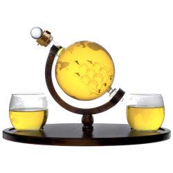 Globe de verre de vin Whisky navire carafe carafe avec 2 tasses