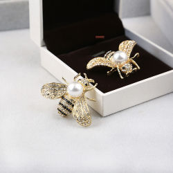 훈장 코사지 클러치는 곤충 보석 Pin를 가진 작은 금 뒝벌 진주 수정같은 브로치를 만든다