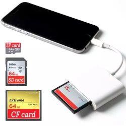 """3 в 1 OTG 8 контакт для SD карт памяти TF CF для iPhone iPad Card Reader адаптер ЯПФ""""47"""