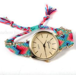 Tela de Malha de moda bracelete OEM Senhoras Assista a correia com a borda de metal